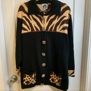 Storybook knits cardigan leopard and zebra sweater